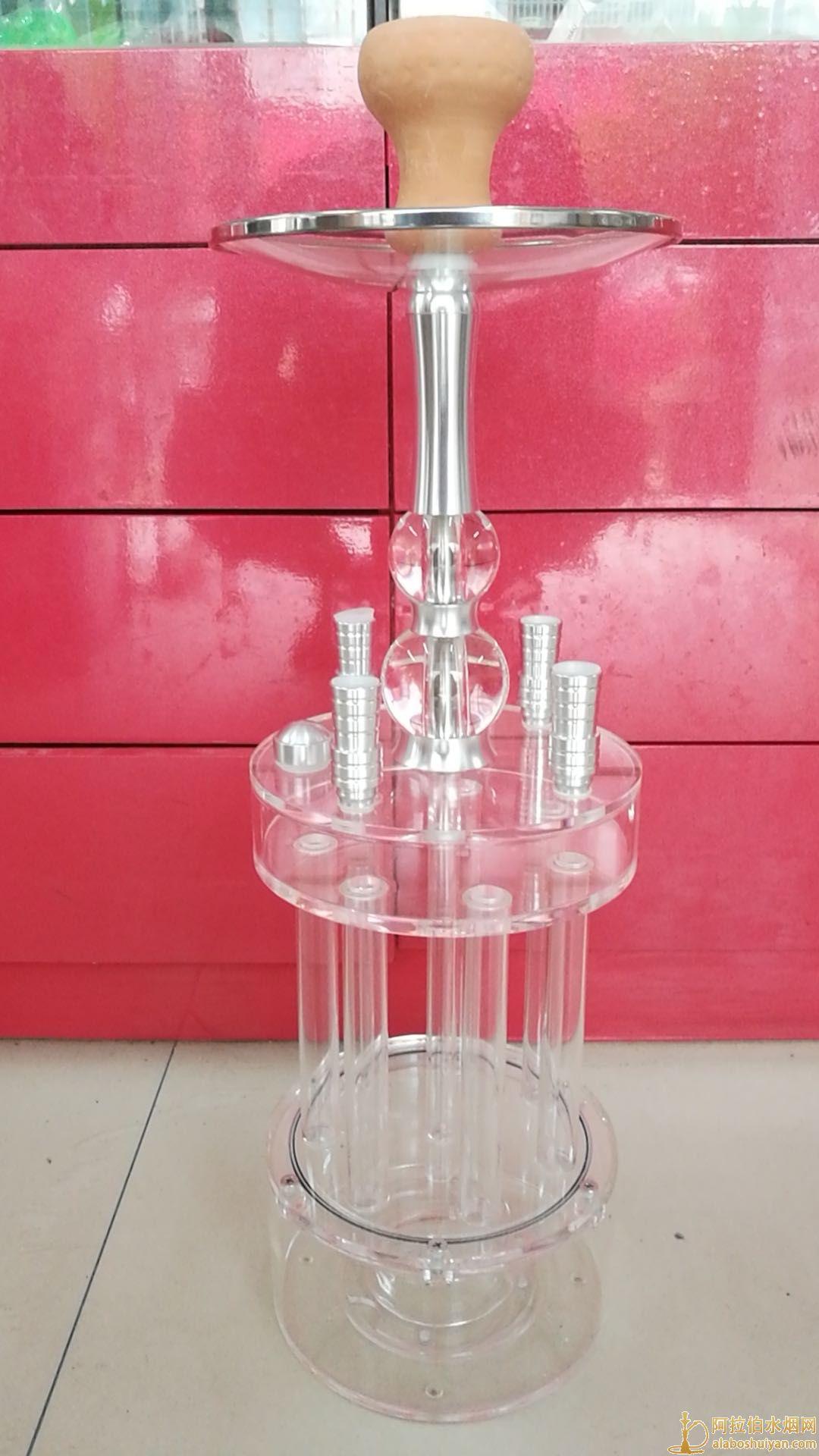 新款阿拉伯水烟壶酒吧加特林四嘴带灯水烟壶实物图 价格便宜