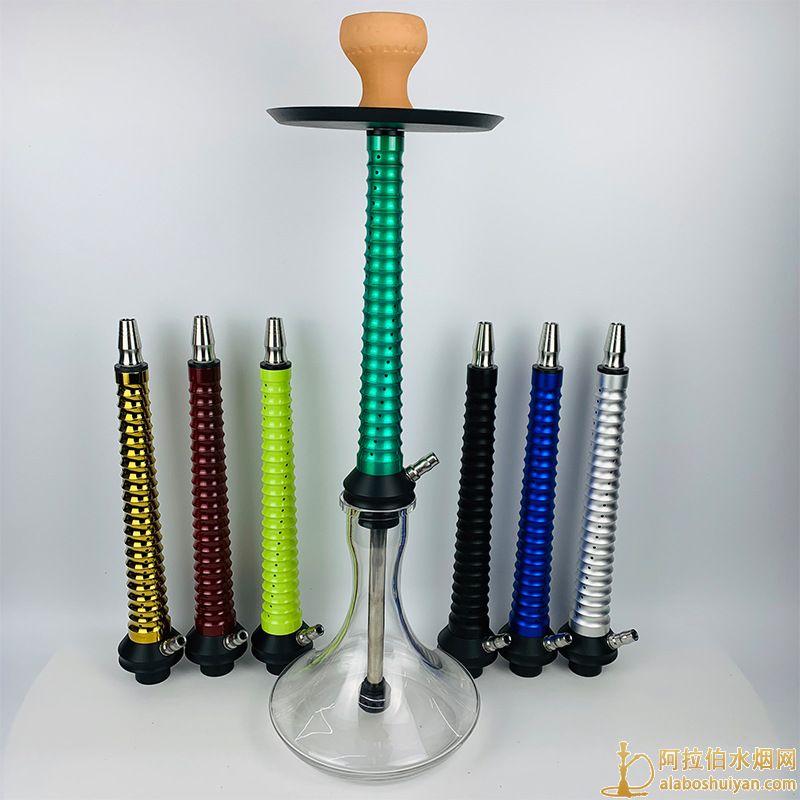 单管大号镂空铝合金水烟壶宝塔多孔排气阿拉伯水烟壶
