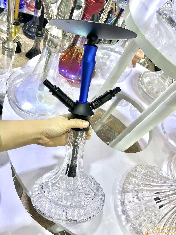 中号双嘴铝合金蓝色阿拉伯水烟壶钻石瓶子铝手柄硅胶吸管