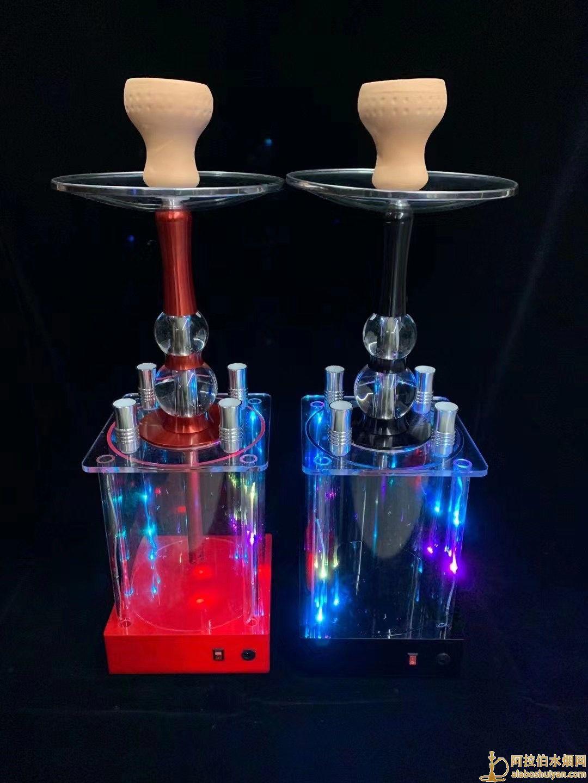 新款充电加特林酒吧阿拉伯水烟壶亚克力四嘴水烟壶
