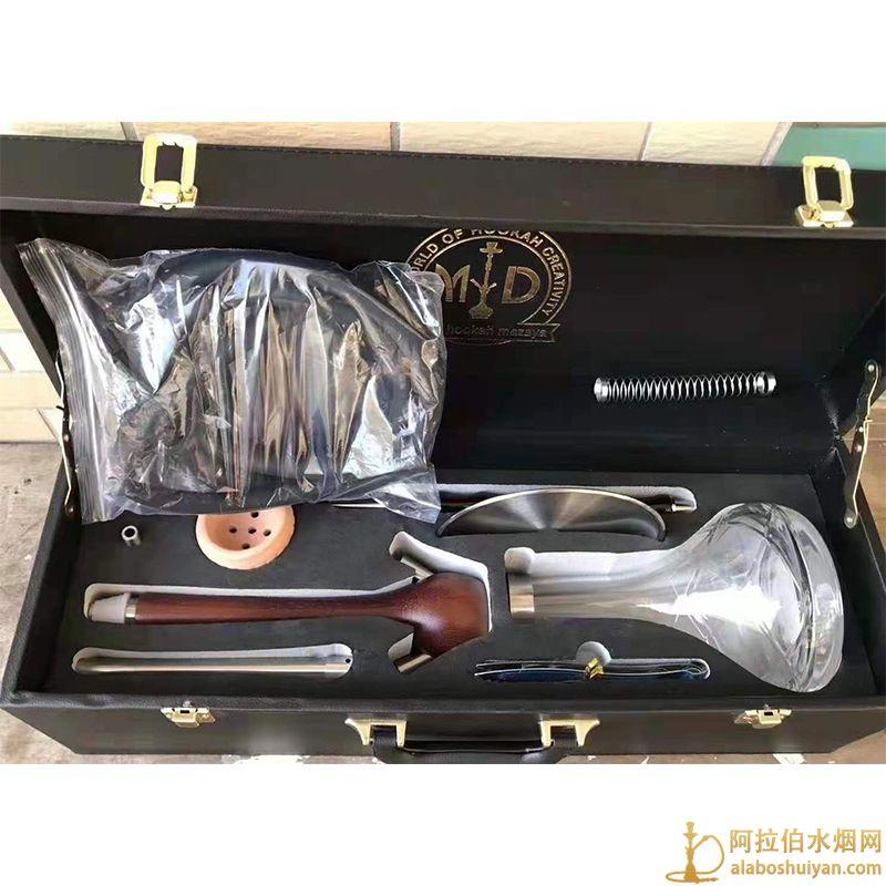 木质水烟壶 木头单嘴带皮箱阿拉伯水烟壶