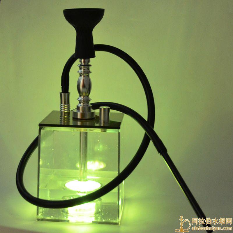 方形亚克力水烟壶 单嘴 双管 清吧带灯水烟壶批发价格
